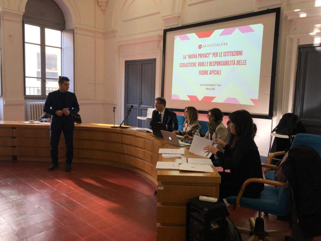 Ulisse Fabiani al Liceo Tasso di Roma su privacy e GDPR nelle scuole